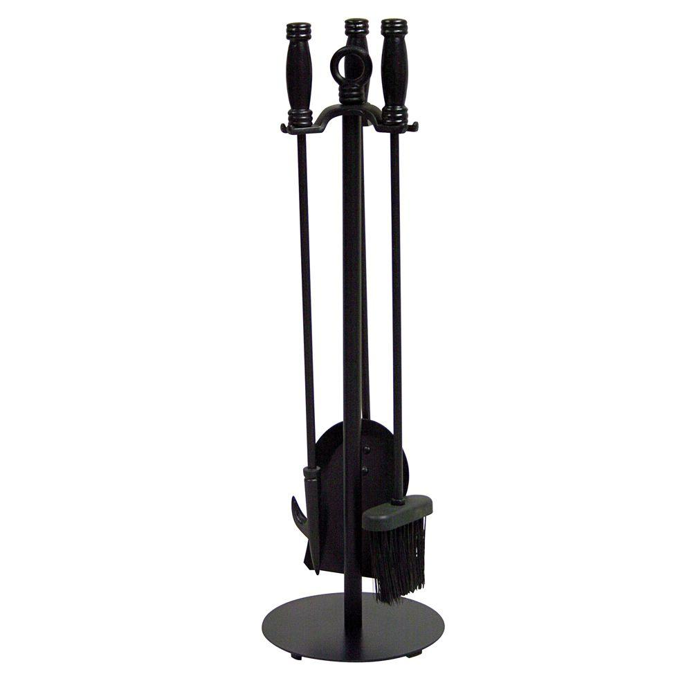 Uniflame Black Wrought Iron 4 Piece Fireplace Tool Set