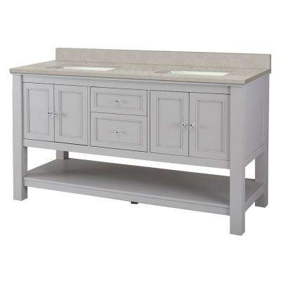 Gazette 61 In. W X 22 In. D Vanity Cabinet In Grey With Engineered