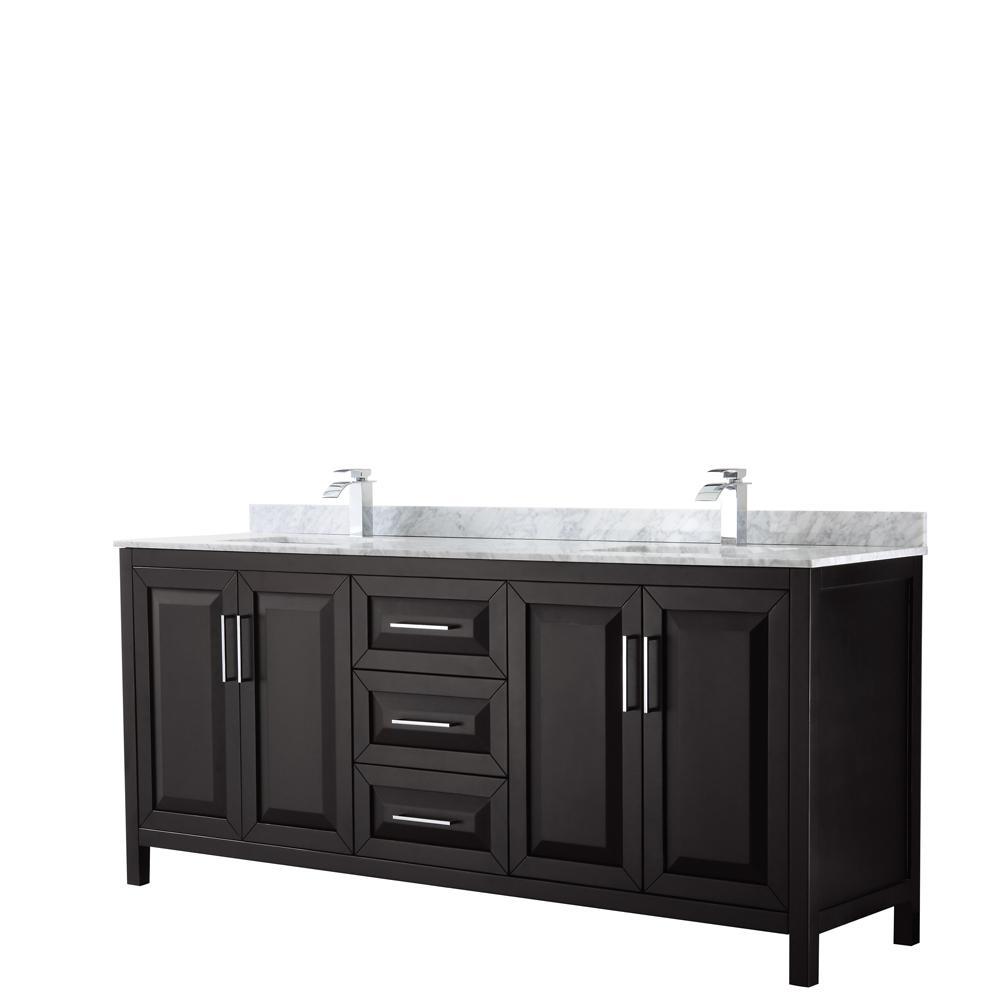 Wyndham Collection Daria 80 In Double Bathroom Vanity Dark Espresso With Marble Top Carrara White Basin