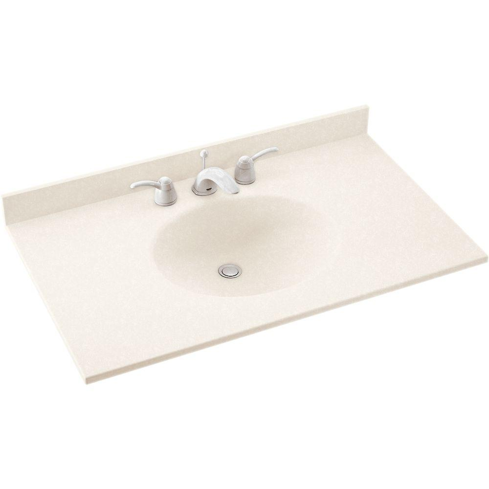 Swan Ellipse 61 in. Solid Surface Vanity Top in Tahiti Ivory with Tahiti Ivory Basin