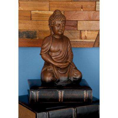 9 in. Terracotta Buddha with Folded Hands Sculpture