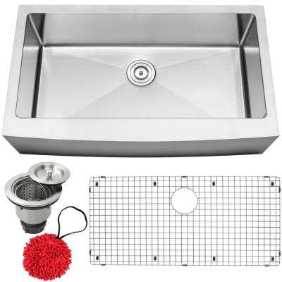 Bryce Farmhouse Apron Front 16-Gauge Stainless Steel 36 in. Single Basin Kitchen Sink with Accessory Kit