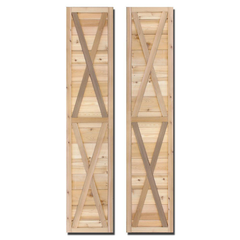 Design Craft MIllworks 15 in. x 72 in. Natural Cedar Board-N-Batten Southerland Shutters Pair