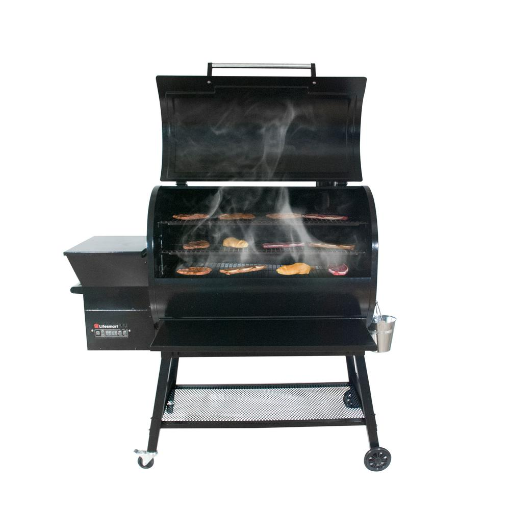 Lifesmart 2000 sq. in. Surface Pellet Grill and Smoker in Black with Dual Meat Probes and Smart Digital Temperature Control