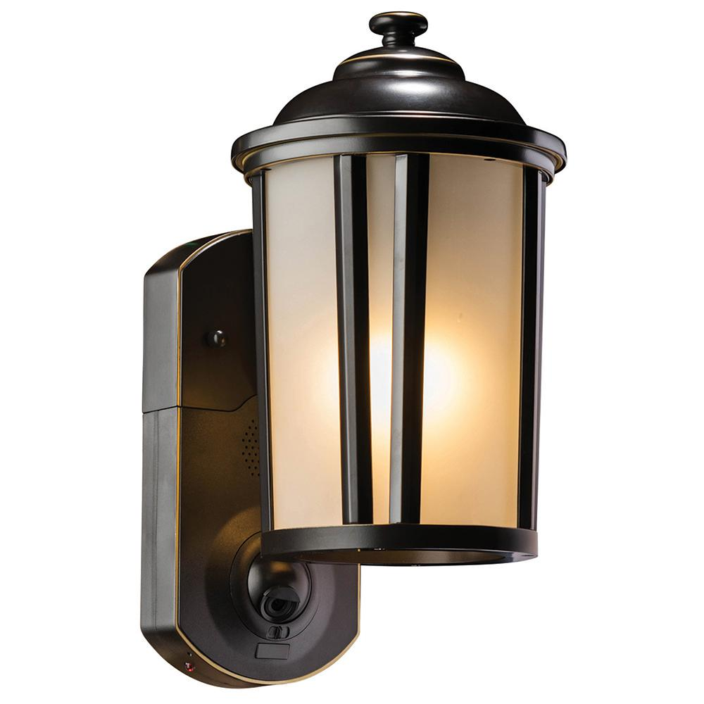 Maximus Traditional Oil Rubbed Bronze Motion Activated Smart Security Metal and Glass Outdoor Wall Lantern Sconce
