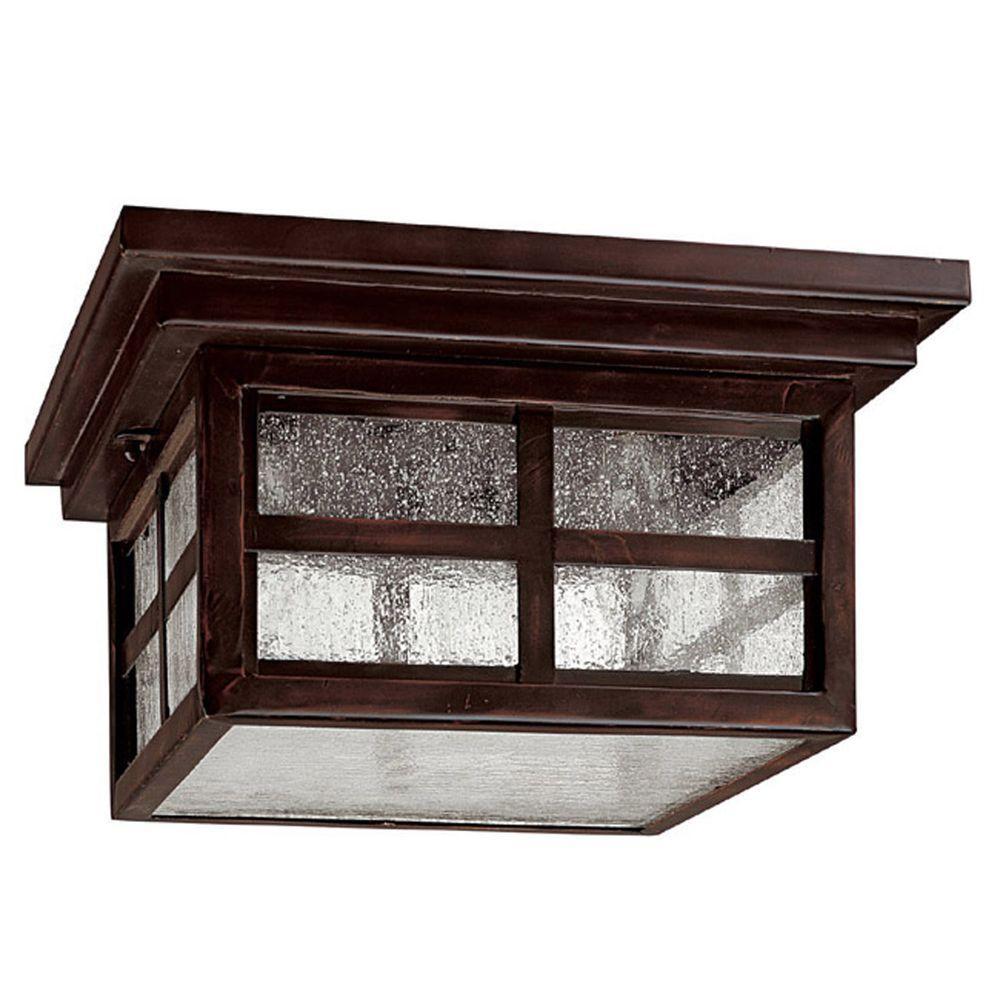 Filament Design 3-Light 6 in. Outdoor Mediterranean Bronze Ceiling Fixture with Seeded Glass