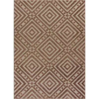 Dorado Metier 7 ft. 10 in. x 9 ft. 10 in. Modern Geometric Trellis Beige High-Low Indoor/Outdoor Area Rug