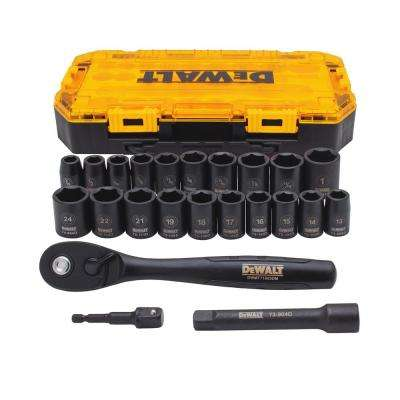 1/2 in. Drive Metric Socket Set with Ratchet (23-Piece)
