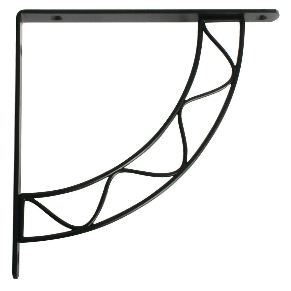 Stockton 7.75 in. L x 0.75 in. W Black 100 lb. Decorative Shelf Bracket