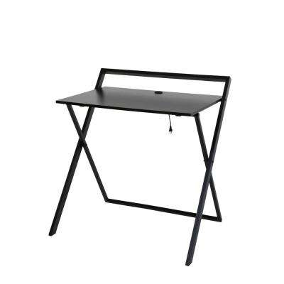 No Assembly Dark Brown and Black Folding Desk with Dual USB Charger