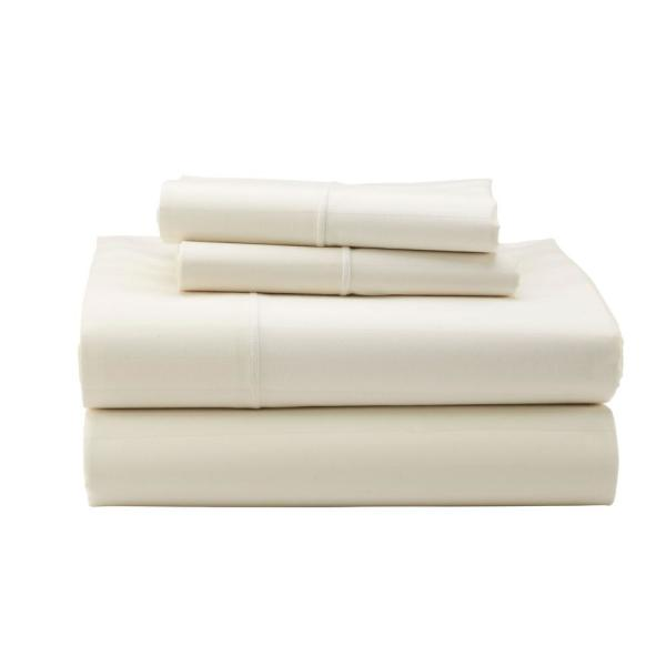 The Company Store Classic Stripe 3-Piece Ivory 350-Thread Count Sateen Twin