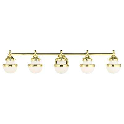 Oldwick 5.125 in. 5-Light Polished Brass Vanity Light with Satin Opal White Glass Shades