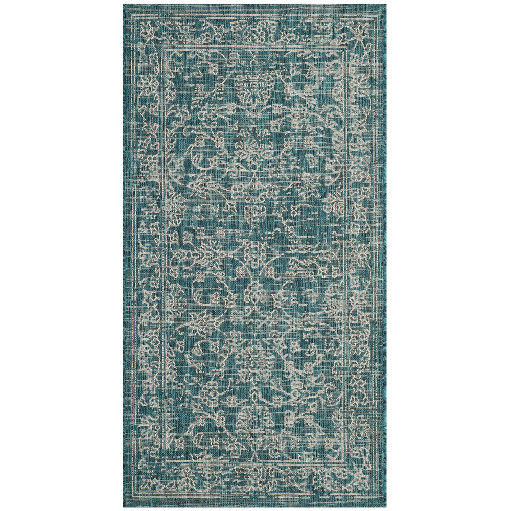 Safavieh Courtyard Turquoise 3 Ft X 5 Indoor Outdoor Area Rug