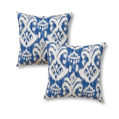 Azule Ikat Square Outdoor Throw Pillow (2-Pack)