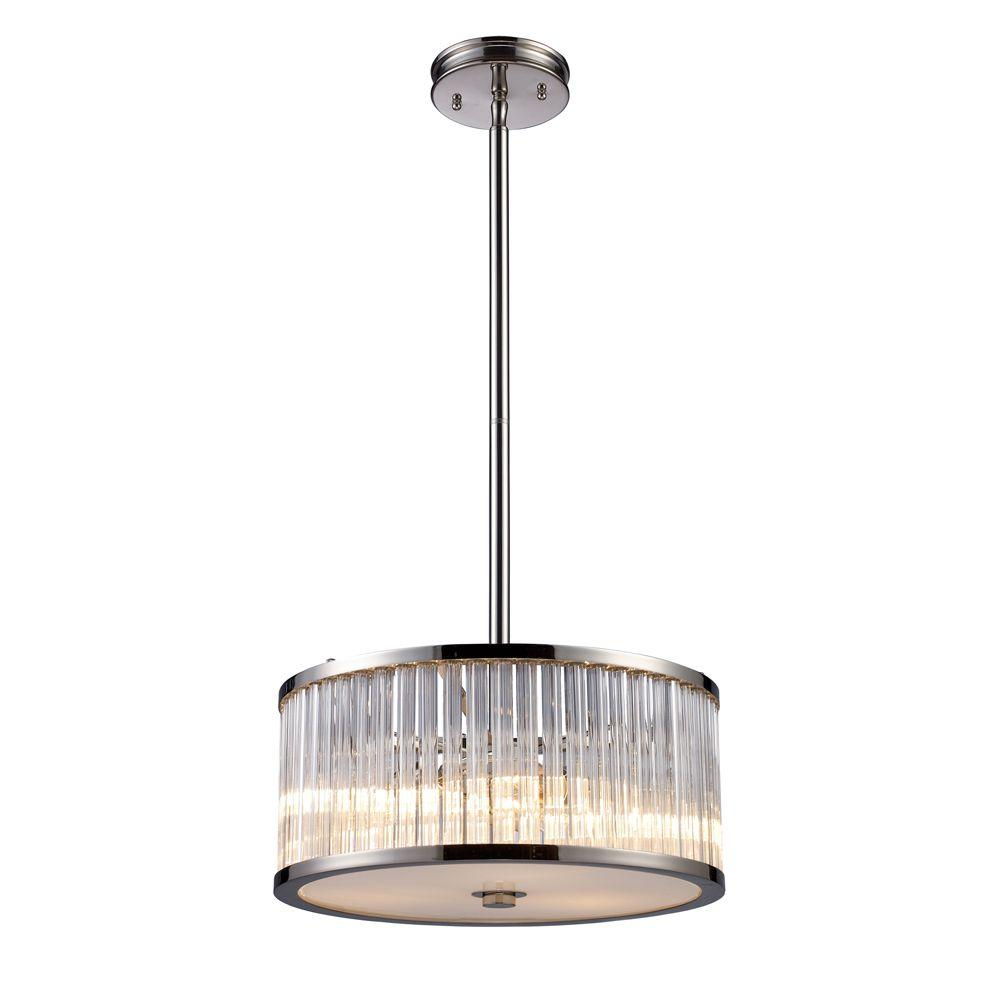 Braxton 3-Light Polished Nickel Ceiling Pendant