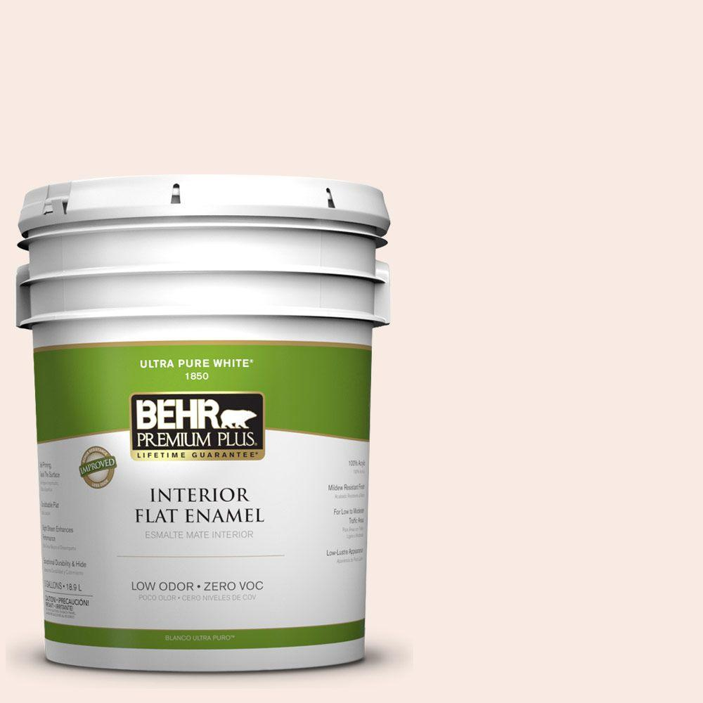 BEHR Premium Plus 5-gal. #210E-1 Bella Pink Zero VOC Flat Enamel Interior Paint-DISCONTINUED