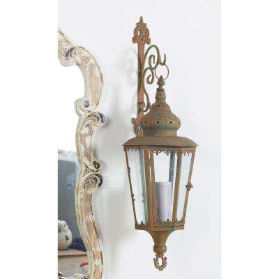 Rustic Flourished Gray Wall Lantern