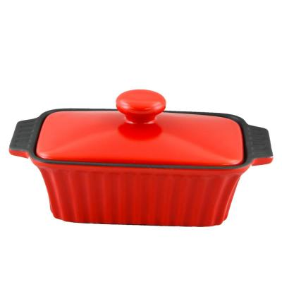 Denhoff 8.5 in. Red Ribbed Casserole with Lid