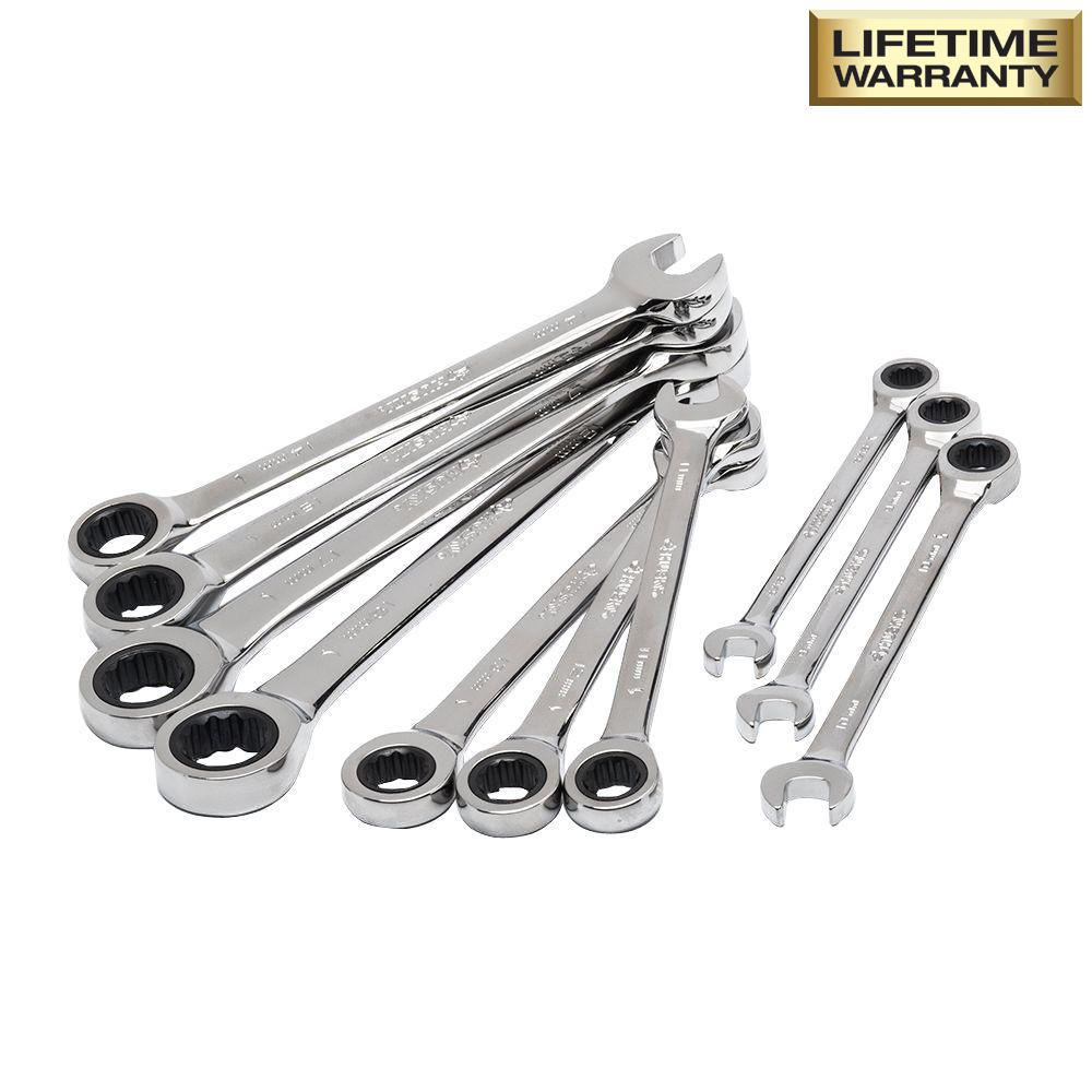 Metric Ratcheting Combination Wrench Set (10-Piece)