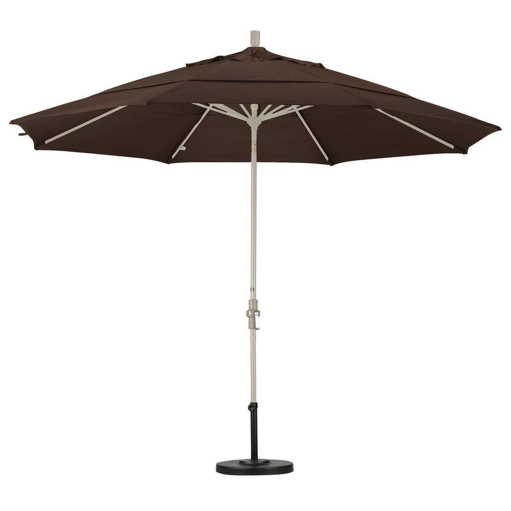 Aluminum Collar Tilt Double Vented Patio Umbrella In Mocha Pacifica