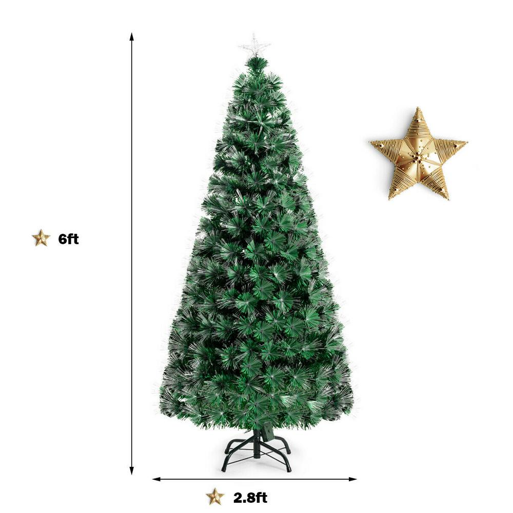 6FT// 7FT Green Christmas Pre-Lit Tree Metal Stand Warm White Leds Indoor Outdoor