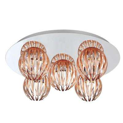 Cosmo Collection 5-Light Chrome and Amber Flushmount