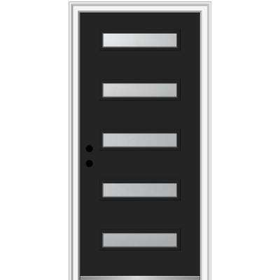 36 in. x 80 in. Davina Right-Hand Inswing 5-Lite Frosted Painted Fiberglass Smooth Prehung Front Door, 6-9/16 in. Frame