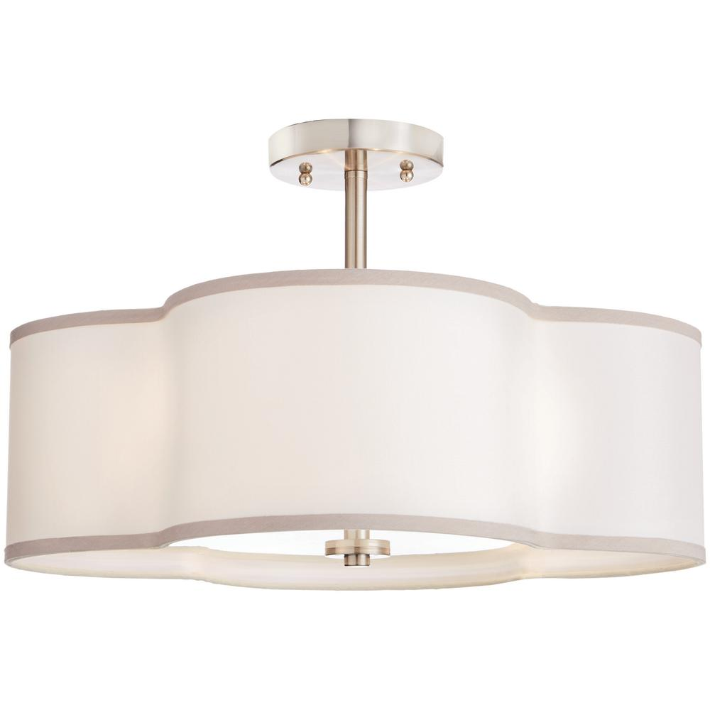 Home Decorators Collection 4-Light Brushed Nickel Semi-Flush Mount Light with Off-White Fabric Clover Shade