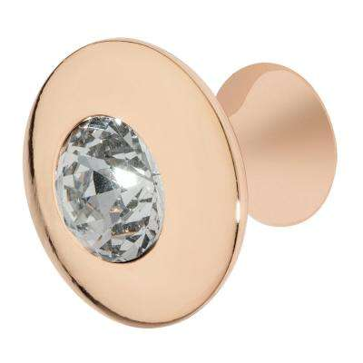 Felicia 1-1/4 in. Rose Gold with Clear Crystal Cabinet Knob