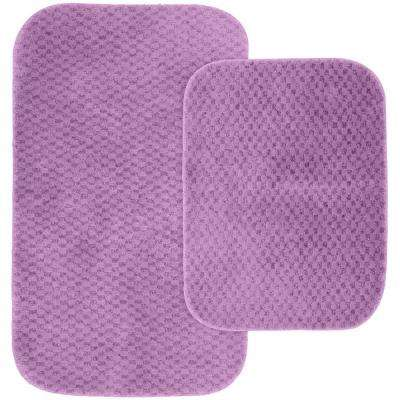 Cabernet Purple 21 in. x 34 in. Washable Bathroom 2-Piece Rug Set