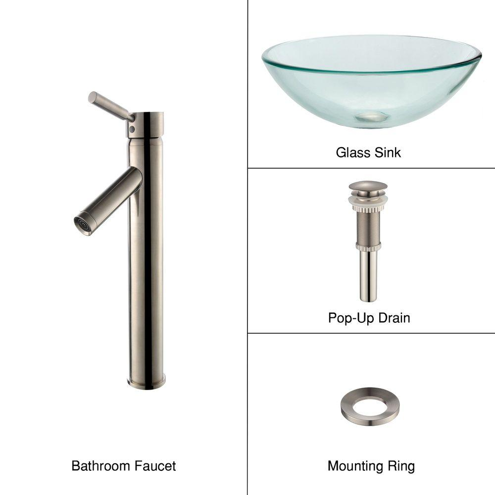 KRAUS Glass Vessel Sink in Clear with Sheven Faucet in Satin Nickel