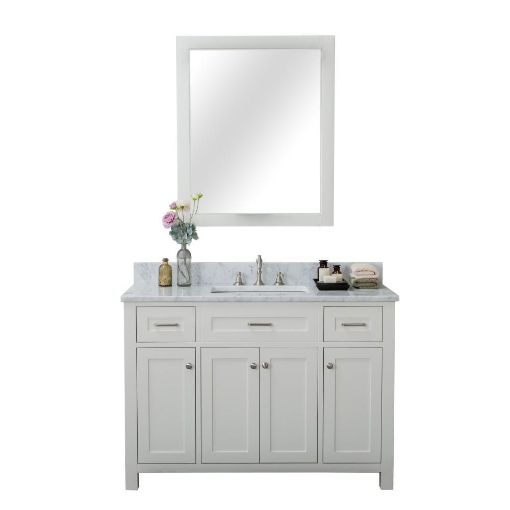 Redmond 48 in. W x 22 in. D Bath Vanity in Linen White with Marble Vanity Top in White with White Basin and Mirror