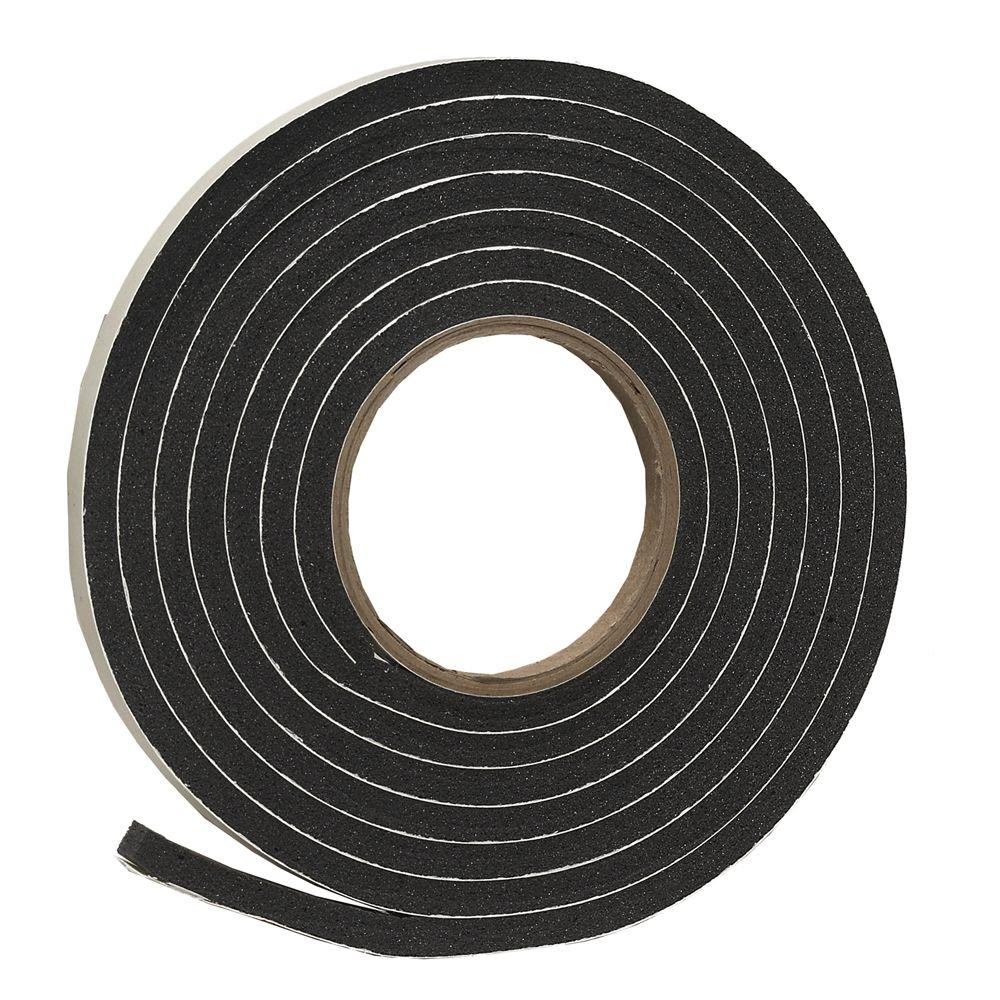 3/8 in. x 5/16 in. x 10 ft. Black Rubber Foam