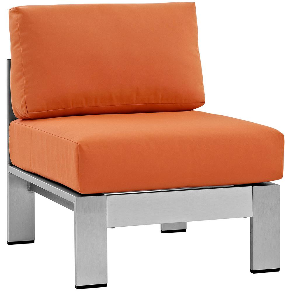 Beau MODWAY Shore Armless Patio Aluminum Outdoor Lounge Chair In Silver With  Orange Cushions