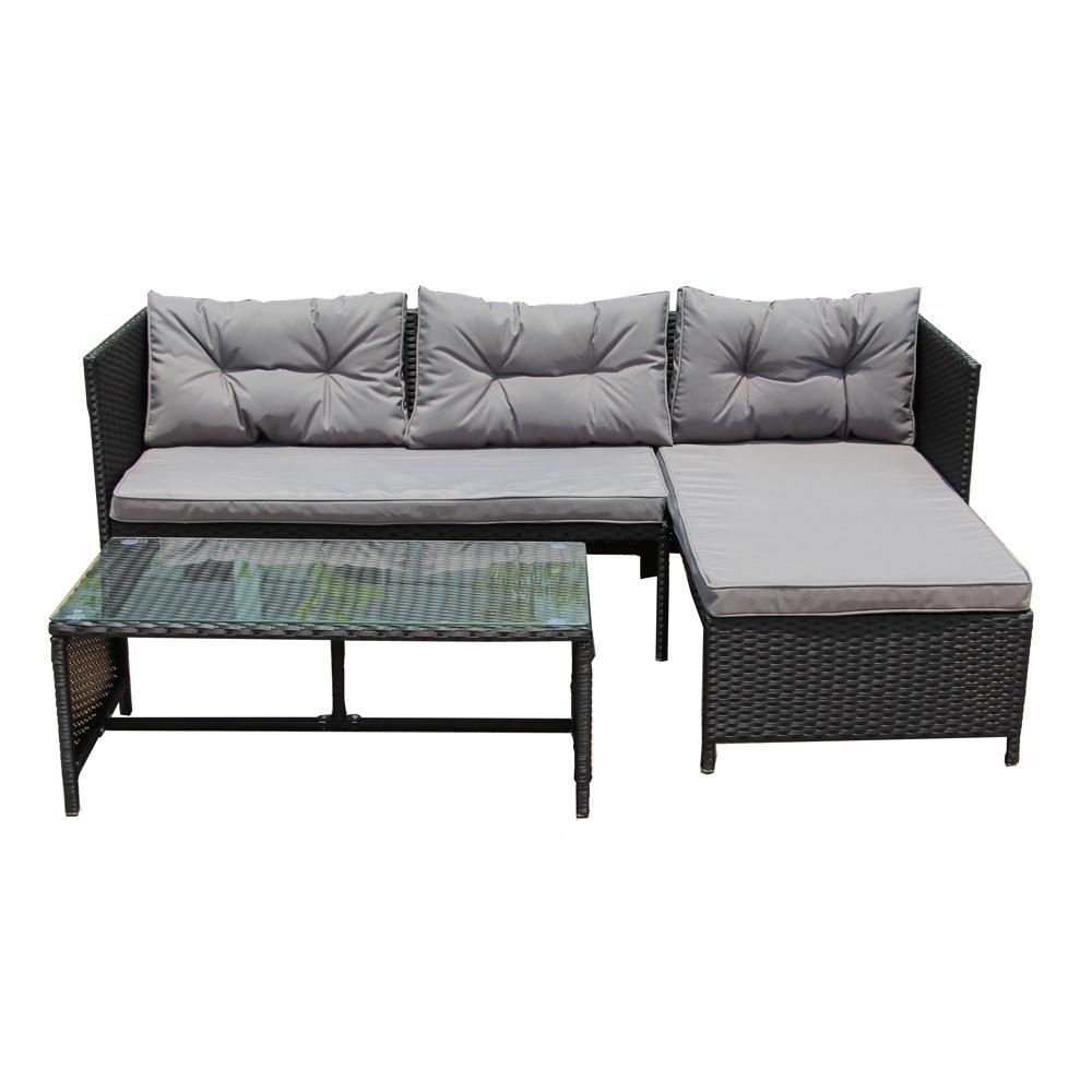 Aleko 3 Piece Rattan Lounge Furniture Set In Black Rtf010bk Hd The