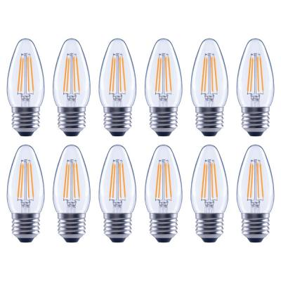 40-Watt Equivalent B11 Dimmable Energy Star Clear Filament Vintage Style LED Light Bulb in Soft White (12-Pack)