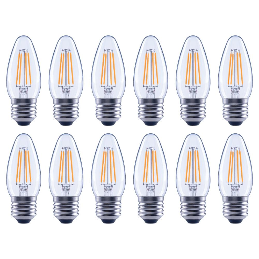 EcoSmart 40-Watt Equivalent B11 Dimmable Energy Star Clear Filament Vintage Style LED Light Bulb Soft White (12-Pack)