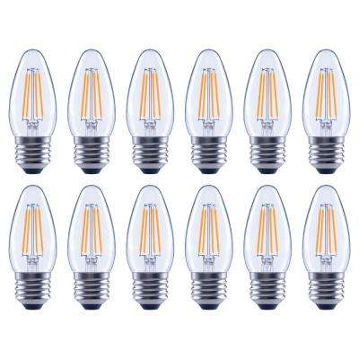 40-Watt Equivalent B11 Dimmable Energy Star Clear Filament Vintage Style LED Light Bulb Soft White (12-Pack)