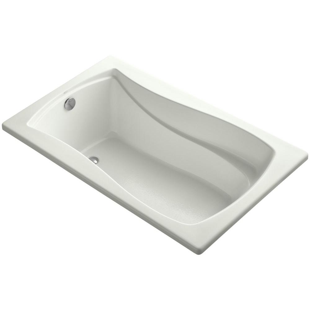 KOHLER Mariposa 5 ft. Reversible Drain Soaking Tub in Dune with Bask ...