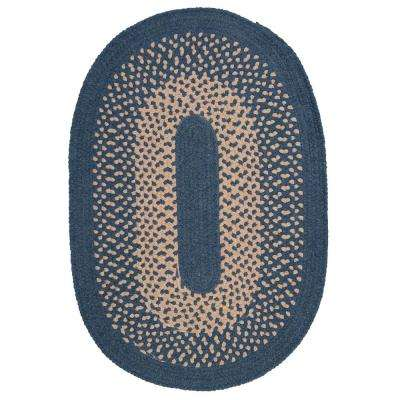 Portland Federal Blue 2 ft. x 3 ft. Oval Braided Area Rug