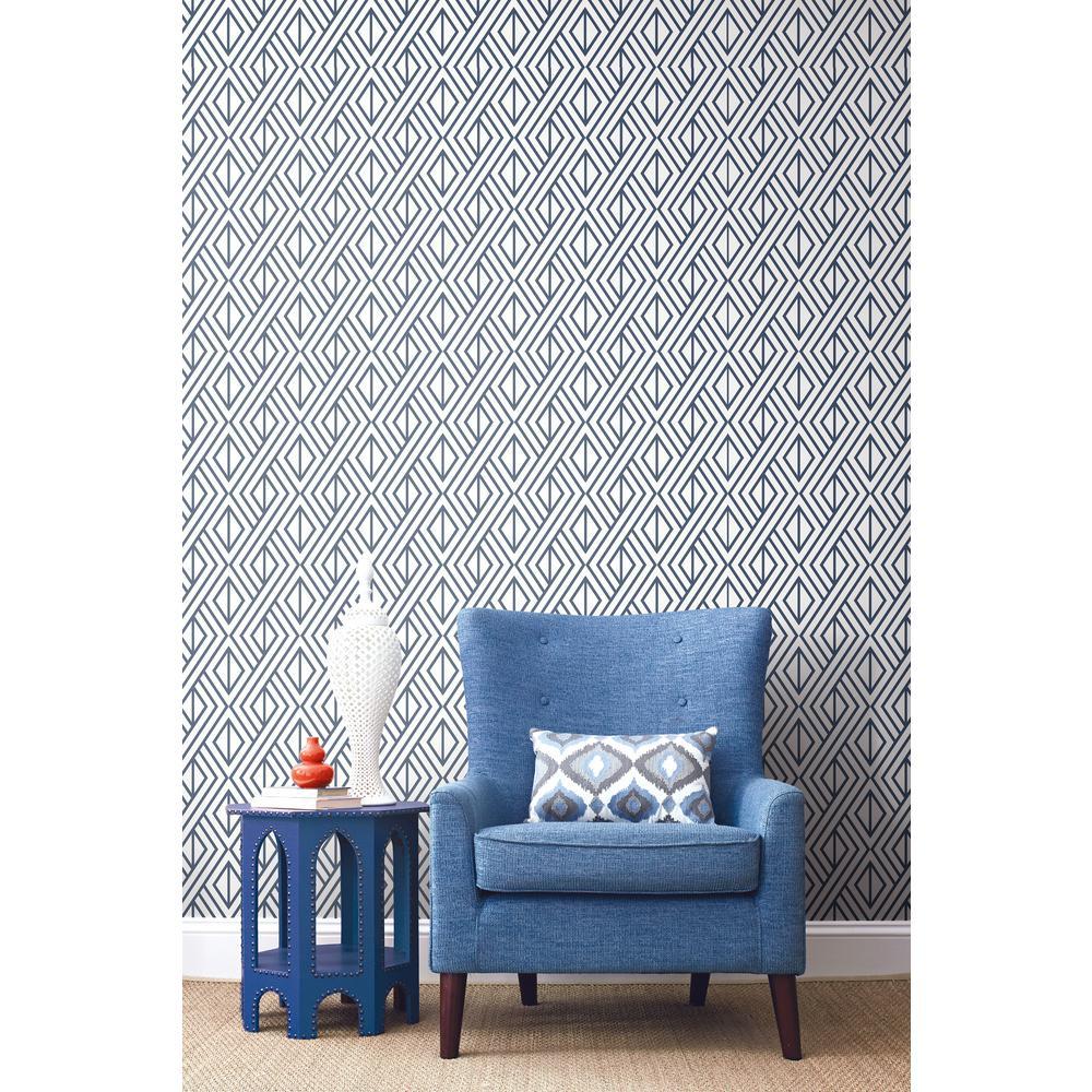 Navy Diamond Geometric Peel and Stick Wallpaper