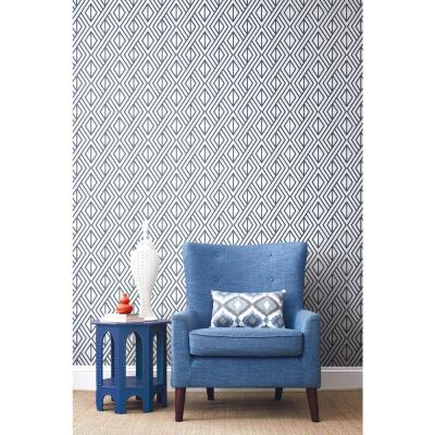Navy Diamond Geometric Peel and Stick Wallpaper
