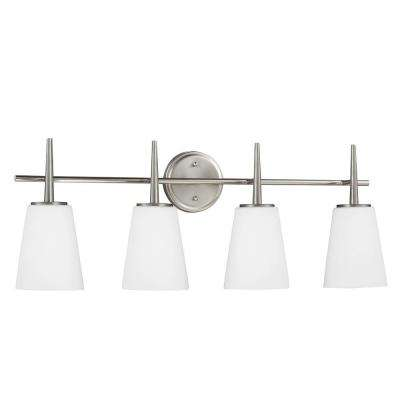 Driscoll 4-Light Brushed Nickel Wall/Bath Vanity Light with Inside White Painted Etched Glass