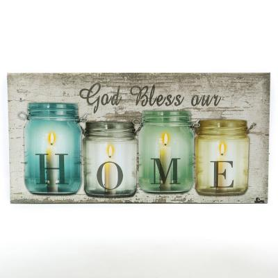 God Bless Our Home Canvas Print Wall Art with LED Lights