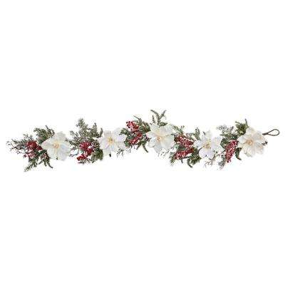 60 in. Frosted Magnolia and Berry Artificial Garland