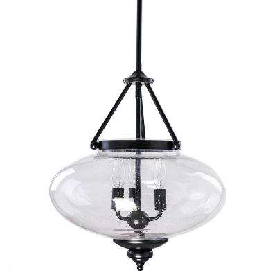 Minetta 63.75 in. 3-Light Black and Clear Convertible Semi Flush/Pendant