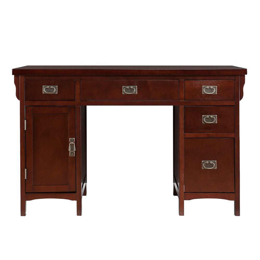 Dark cherry finish and aged bronze finish hardware Storage Desk
