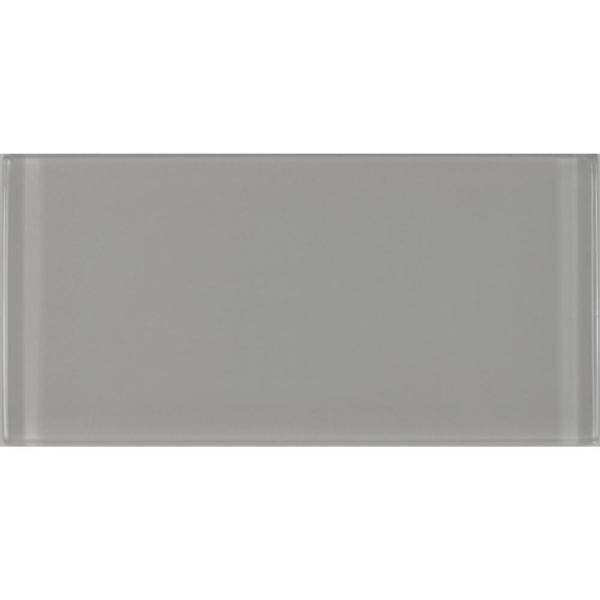 ABOLOS Subway 3 in. x 6 in. Rectangle Gray Glossy Glass