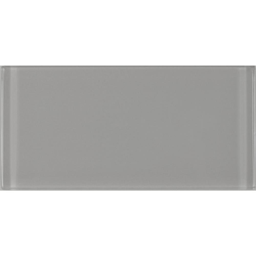 Subway 3 in. x 6 in. Rectangle Gray Glossy Glass Peel