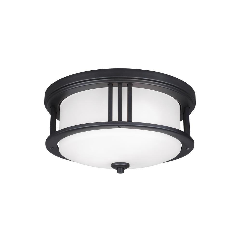 Outdoor flush mount lights outdoor ceiling lighting the home depot crowell black 2 light outdoor flush mount aloadofball Images